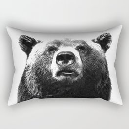 Black and white bear portrait Rectangular Pillow