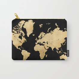 Sleek black and gold world map Carry-All Pouch