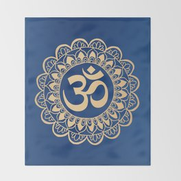 Blue and Gold Ohm Mandala Throw Blanket