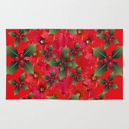 RED HOLIDAYS FLOWER & HOLLY  WREATH ART Rug