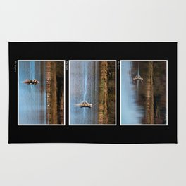 Gone Fishing Triptych Black Rug