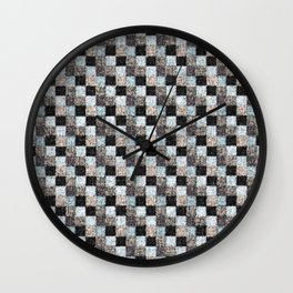 Rustic Black Brown Blue Patchwork Wall Clock
