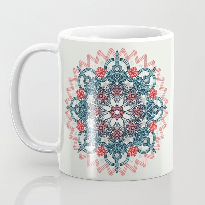 Coral & Teal Tangle Medallion Coffee Mug