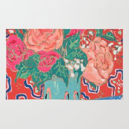 Roses in Enamel Flamingo Vase Rug