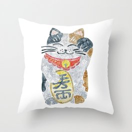 Watercolor Maneki Neko / Lucky Cat Throw Pillow