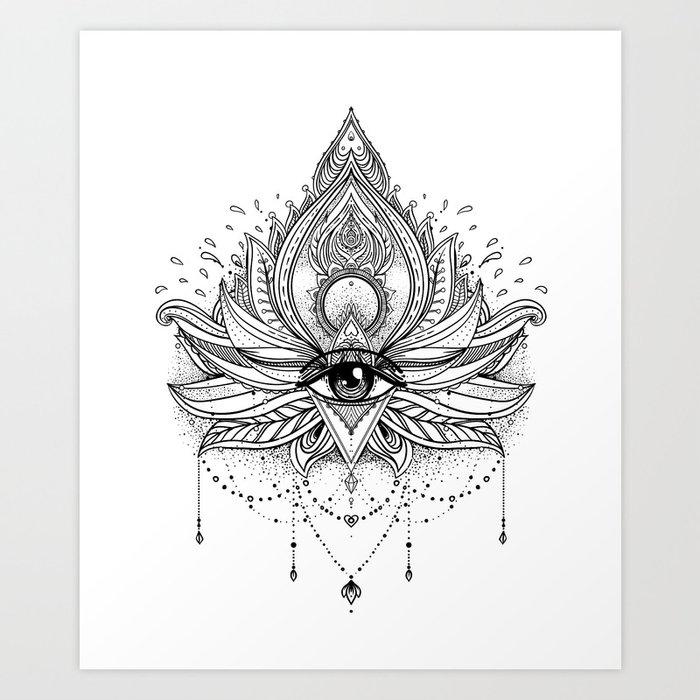 Lotus flower all seeing eye art print by varvaragorbash society6 lotus flower all seeing eye art print mightylinksfo