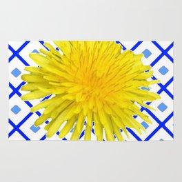 Yellow Dandelion Flower On Delft Blue Tile Rug