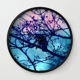 Raven in the night Wall Clock