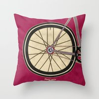 brompton Throw Pillows featuring Single Speed Bicycle by Wyatt Design
