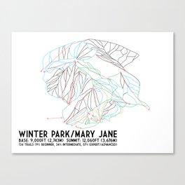 Winter Park/Mary Jane, CO - Minimalist Trail Art Canvas Print