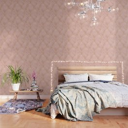 Rose gold millennial pink blooms Wallpaper