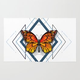 Geometric Pattern with Monarch Butterflies Rug