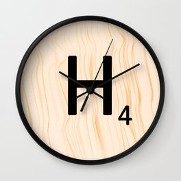 Scrabble Letter H - Large Scrabble Tiles Wall Clock