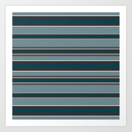 Striped turquoise and gray, green background Art Print