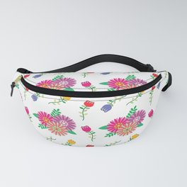 Seamless vector floral pattern, white background, and pink, red, blue and orange flowers Fanny Pack
