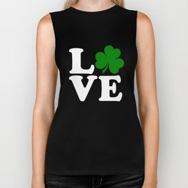 Love with Irish shamrock Biker Tank