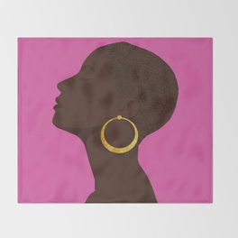 BBLOOMM - Illustration, Floral, Big Chop, Melanin, Pink Throw Blanket