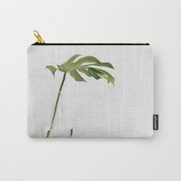 Single Monstera Leaf In Clear Glass Zen Minimalist House Plant Photo Carry-All Pouch