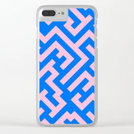 Cotton Candy Pink and Brandeis Blue Diagonal Labyrinth Clear iPhone Case