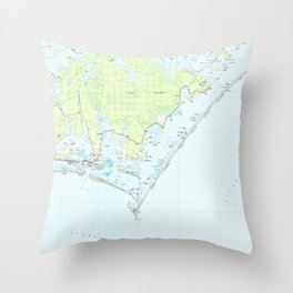 Cape Lookout National Seashore & Morehead City Map Throw Pillow