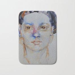 Blue girl, painting Bath Mat