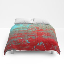 texture - aqua and red paint Comforters