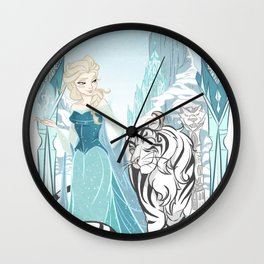 Frozen White Tiger Wall Clock