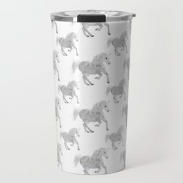 White Horse Pattern Travel Mug