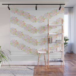 Watercolor garden and stripes Wall Mural
