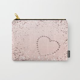 Sparkling ROSE GOLD Lady Glitter Heart #5 #decor #art #society6 Carry-All Pouch