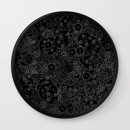 Clockwork B&W inverted / Cogs and clockwork parts lineart pattern Wall Clock