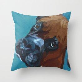 Leo the Boxer Dog Portrait Throw Pillow