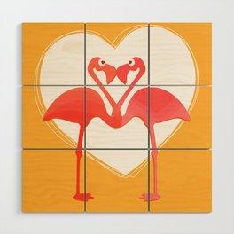 lovebirds - flamingos in love Wood Wall Art