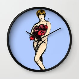 Pauline with Flowers Wall Clock