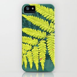 From the forest - lime green on teal iPhone Case