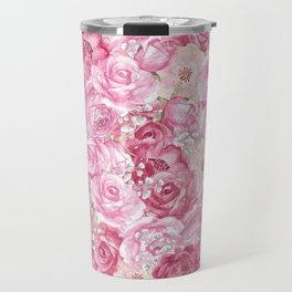 Hand painted white blush pink  coral floral Travel Mug