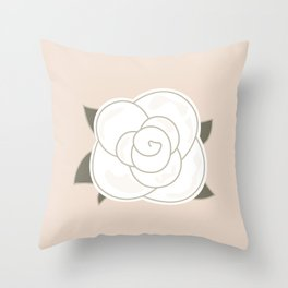 White vintage rose. Vector Illustration Throw Pillow