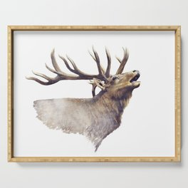 Bull Elk portrait watercolor on white background Serving Tray