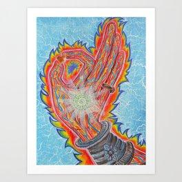 Buddha Hand on Love Art Print