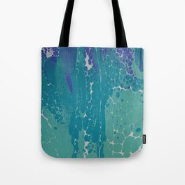 Blue Green and White Cells Tote Bag