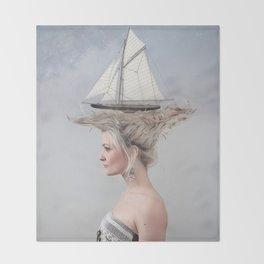 Sailing - White Throw Blanket