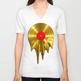 Melting vinyl GOLD / 3D render of gold vinyl record melting Unisex V-Neck