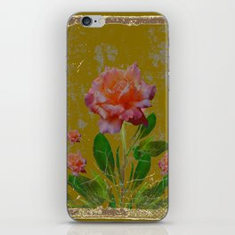 ANTIQUE AVOCADO COLOR  CORAL  PINK ROSES BOTANICAL ART iPhone Skin