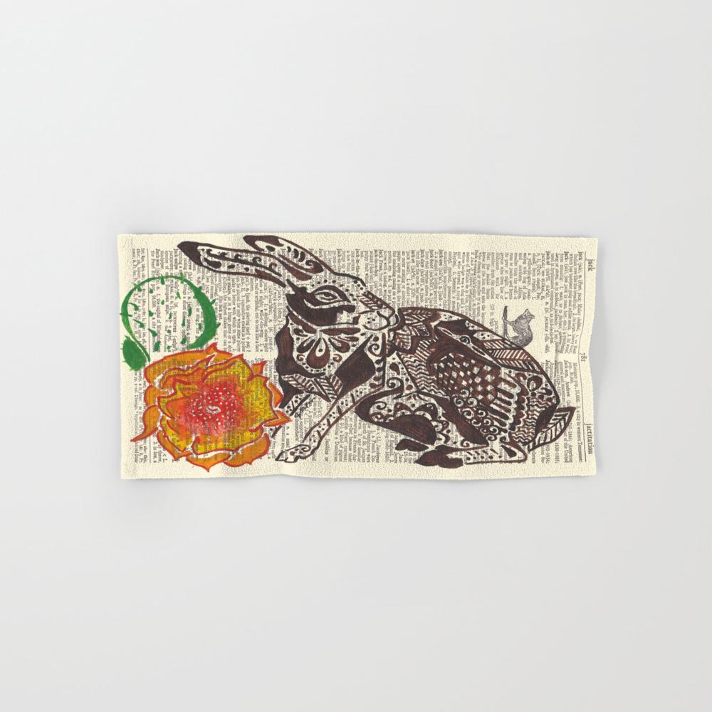 Jumpin' Jack Flash (jack Rabbit And Cactus Flower… Hand Towel by Janinwise BTL928718