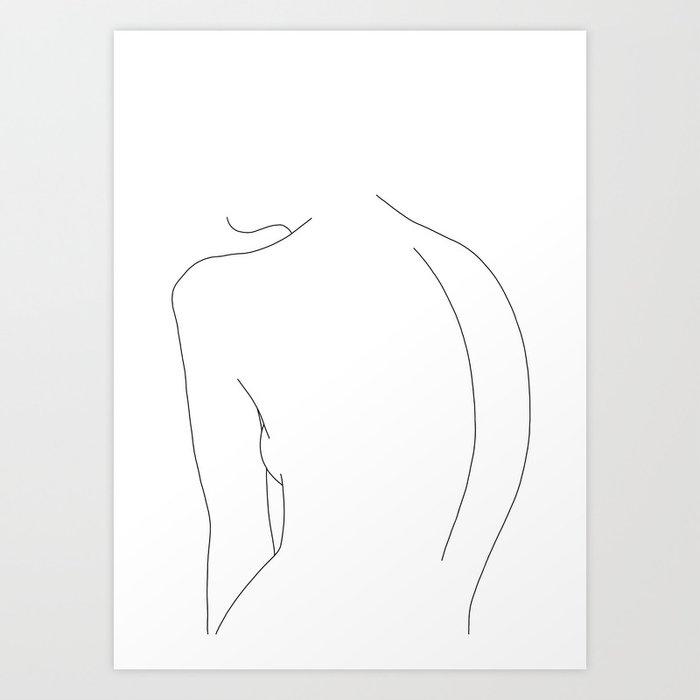 Minimal line drawing of women's body - Alex Art Print