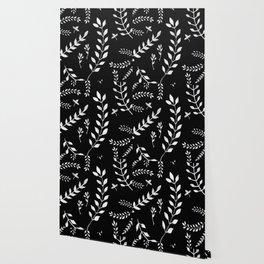 White Leaves Pattern #3 #drawing #decor #art #society6 Wallpaper