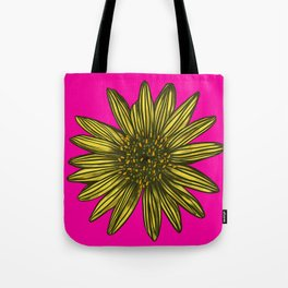 Mellow Yellow Daisy on hot pink Tote Bag