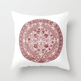 Aztec Calendar // Maroon Throw Pillow