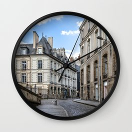 Old town street of Rennes Wall Clock