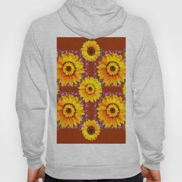 CINNAMON COLOR YELLOW SUNFLOWERS ART Hoody